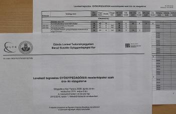 Gyógypedagógia mesterképzési szak (MA), levelező tagozatos tantervek